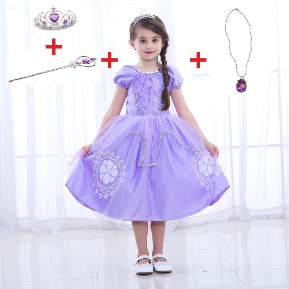 Sophia dress for kids Girl skirt sofia cotton short-sleeved princess Dress Christmas performance costume Halloween cosplay skirt