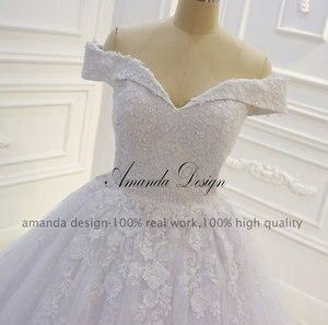 Image 3 - אמנדה עיצוב vestido casamento כבוי כתף תחרת Applique שמלת חתונה נוצצת