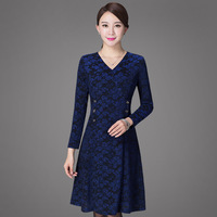 2017 High Quality Free Shipping New Autumn Winter Temperament Style Women Clothing Plus Size Fashion Mid