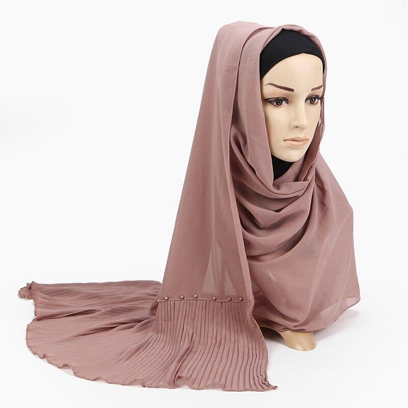 Image 4 - 23 color bubble chiffon peals scarf scarves pleated plain shawls  women solid muslim Hijab essencial headband foulard new designWomens  Scarves