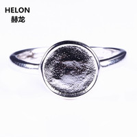 925 Sterling Silver White Gold Color 8mm Round Cabochon Semi Mount Engagement Ring Fine Jewelry Setting
