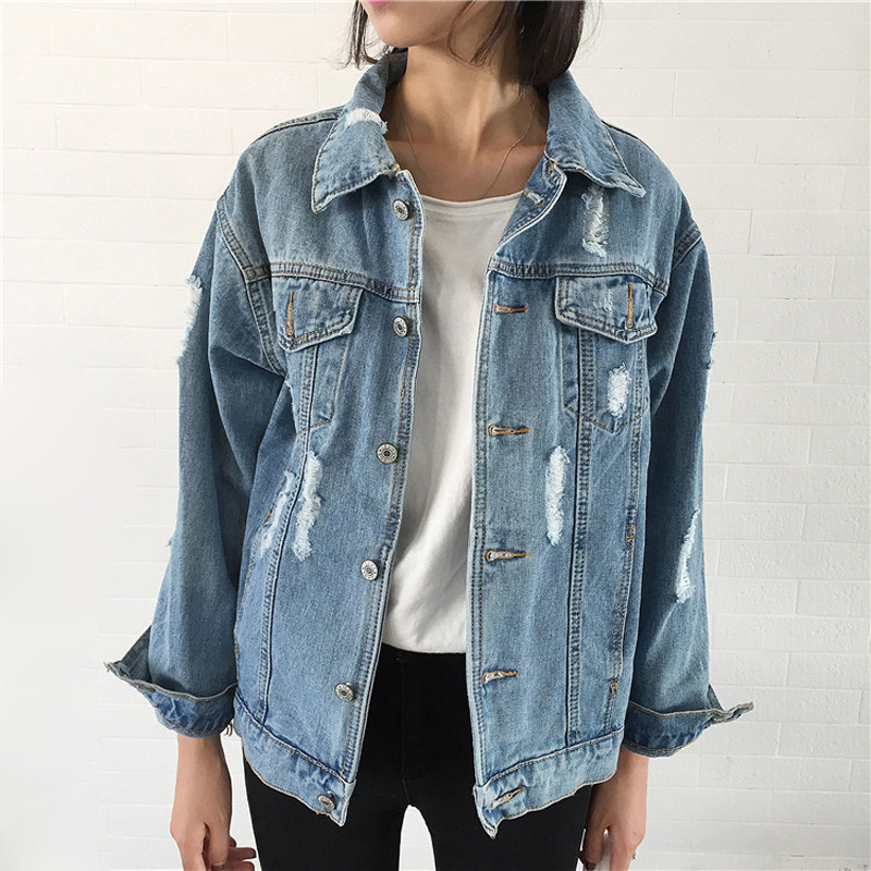 Women Denim Jacket Vintage Long Sleeve Loose Basic Jackets Hole Button Blue Jeans Coat Casual Girls Outwear Clothing Autumn Tops