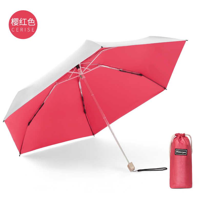 Revêtement argent Mini parapluie Ultra léger 5 pliant petite poche poignée plate Parasol ensoleillé pluie protection solaire Uv parapluie femmes U5U