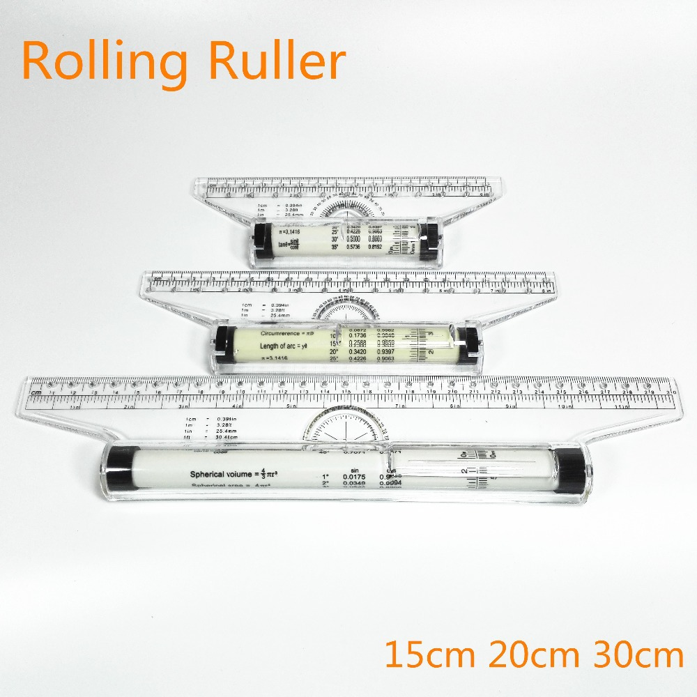 Roll Ruler Parallel Rulers 15/20/30cm Universal Foot Angle Rule Balancing Scale Drawing Reglas Multi-purpose Rolling Ruler