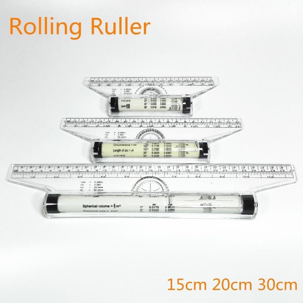 Roll Ruler Parallel Rulers 20/30cm Universal Foot Angle Rule Balancing Scale Drawing Reglas Multi-purpose Rolling Ruler