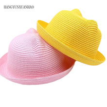 HANGYUNXUANHAO Fashion Kids Straw Hats For Girls Boys Summer Baby Ear Decoration Cute Children Character Sun Hat Solid Beach