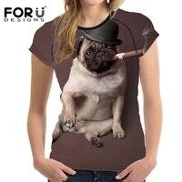 FORUDESIGNS Funny 3D Pug Animal Women T Shirt Summer Short Sleeved Woman Tumblr T Shirt ONeck