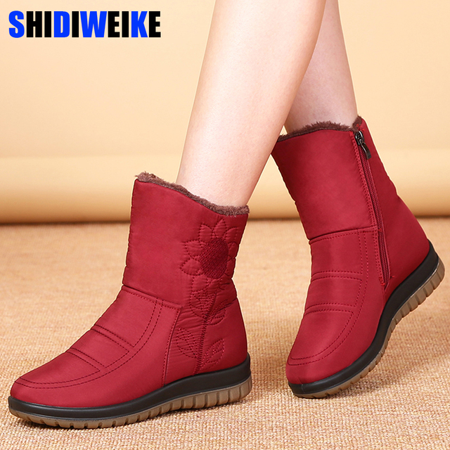 Winter Women Snow Boots Ladies Waterproof Warm Ankle Boots Wedges Platform Plush Shoes female Botas Mujer Zapatos Embroider boot