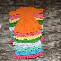 2016 New Girls Clothes Baby Kids Solid Cotton Clothes Fall Winter Multi Color Ruffles Long Sleeve
