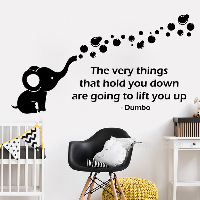 dumbo quote wall decals vinyl stickers baby kids playroom art poster