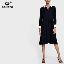 ROHOPO Bkack White Preppy Girl Long Sleeve Maxi Midi Dress Chic Female Top Buttons Fly Cute Turn Down Collar Dress #TW7098 chic round collar white long sleeve waist spliced bodycon midi dress for women