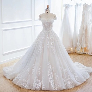 Long Ball Gown Wedding Dresses 2018 Lace Up New Bridal Party Gowns Fairytale Princess Dress Tulle Appliques gown