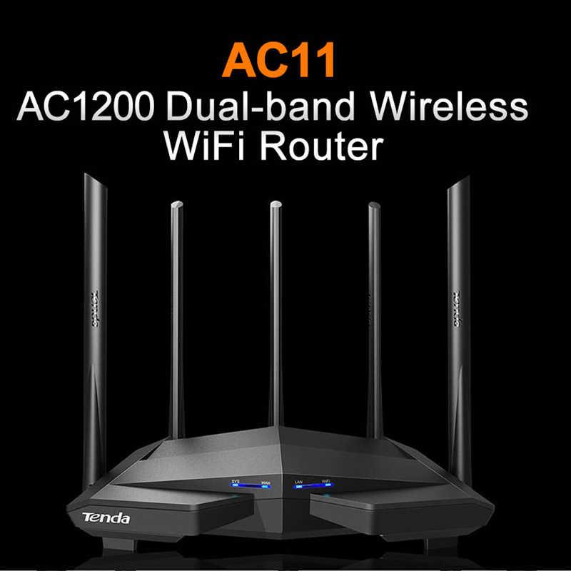 Tenda AC11 AC1200M bezprzewodowy Router Wi-Fi z 2.4G/5.0G antena o dalekim zasięgu pokrycie domu dwupasmowy Router bezprzewodowy, kontrola aplikacji
