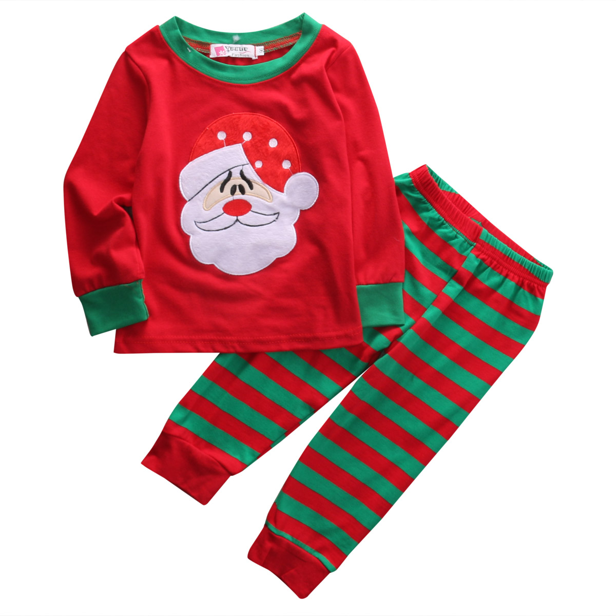 2Pcs Baby Kids Christmas Pjs Clothing Set Baby Boys Girls Xmas T-Shirt Tops + Pants Kids Toddler Clothes Outfit