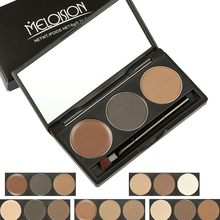 Masro Brand MELOISION Eyebrow Powder Palette Beauty Makeup Tool Waterproof Eyebrow Powder with Mirror Eyebrow Brushes Cosmetic