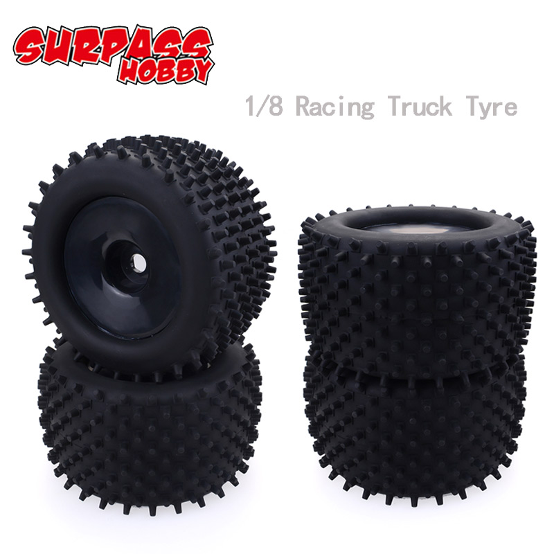 4Pcs <font><b>17mm</b></font> <font><b>1/8</b></font> <font><b>Wheel</b></font> & Tire 120mm Front 143mm Rear Shock Absorber for Truggy <font><b>RC</b></font> Car HPI-Racing GT2 HSP Redcat Axial Traxxas Truck image