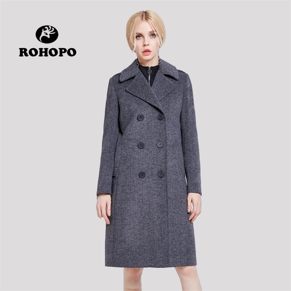 ROHOPO Winter female wool trench coat Women Keep Warm double breast knee length slim wool blends Office lady warmly long coat