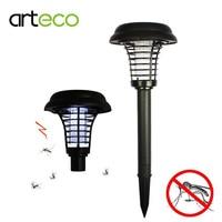Солнечные открытый комаров насекомых Солнечный свет сад UV LED Zapper Солнечный свет с Спайк