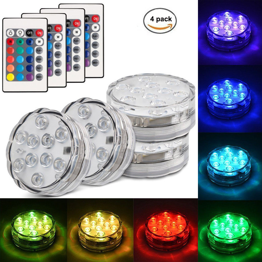 4PCS Aquarium Waterproof led Underwater Light Colorful Swimming Pool Light RGB LED Bulb Remote Control Fish tank Pond decor lamp ...