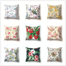 Floral Cushion Cover Green Leaves Flowers Birds Pattern Decorative Pillow Covers for Sofa Car Bed Living Room Fresh Home Decor цены