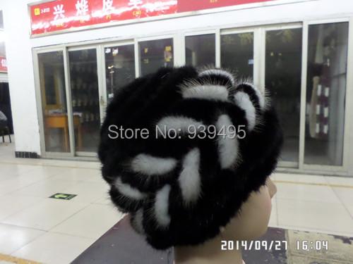 Envío gratis piel de visón señora sombrero de moda
