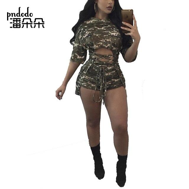 3d475919e7a8a Pndodo PLUS SIZE Two Piece Short Set for Women Half Sleeve Bandage Top and  Short Pants Set Camo Hollow Out 2 Piece Set Club Wear