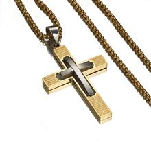 цена на Top Quality Stainless Steel Jesus Christ Cross Gold Necklace Pendant For Women/Men Gold Crucifix Necklace Religious Jewelry