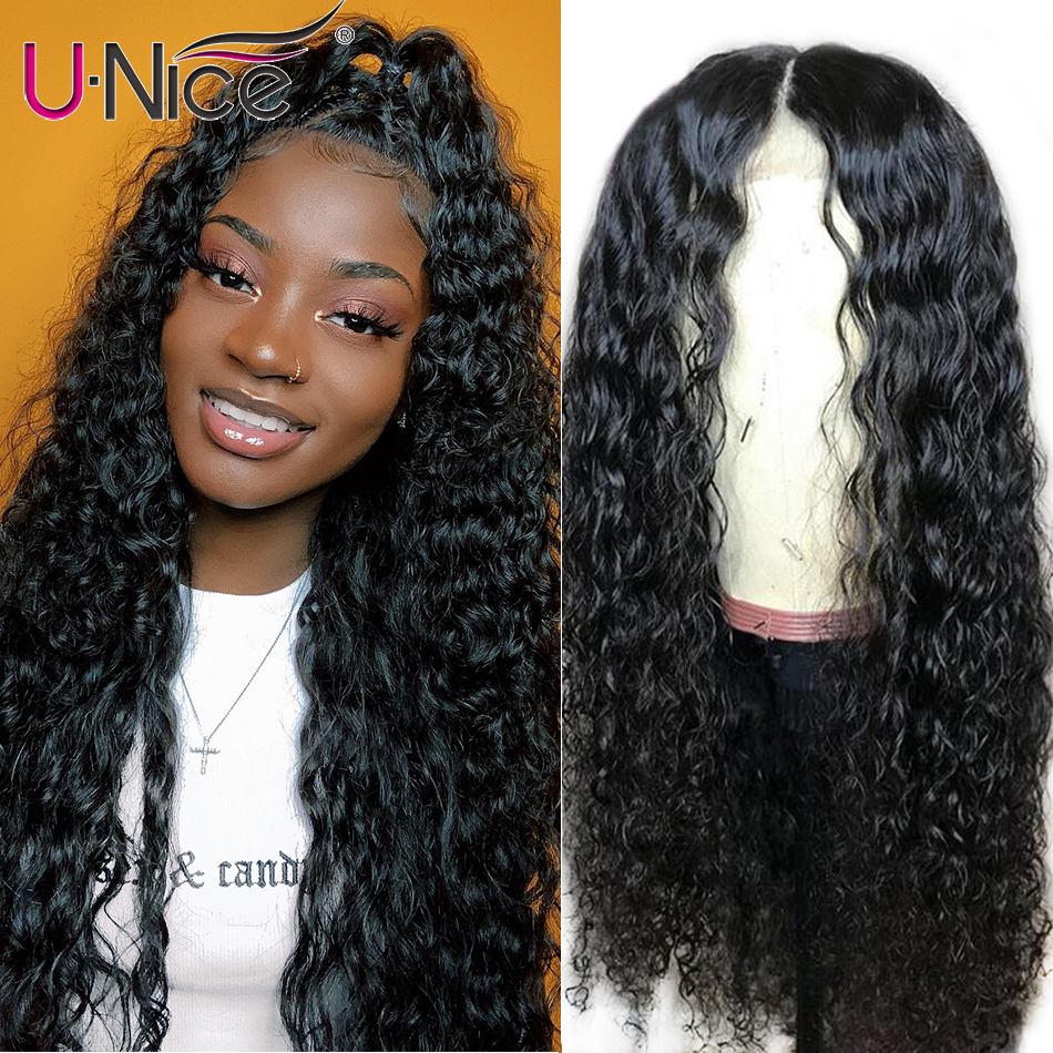 UNice Hair Bettyou Series Water Wave Lace Front Human Hair Wigs  Pre Plucked With Baby Hair Brazilian Remy Front Lace Wigs(China)
