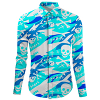Cloudstyle Funny Skull Shirt Winter Camiseta Masculina Casual Outwear Wedding Blouse Long Sleeve Turn Down Collar