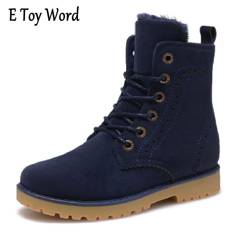 E TOY WORD Winter High help snow boots cashmere warm women shoes lace-up Martin boots British casual snow boots women shoes e toy word bullock ankle boots for women autumn increase lace up martin boots british retro boots winter high help botas mujer