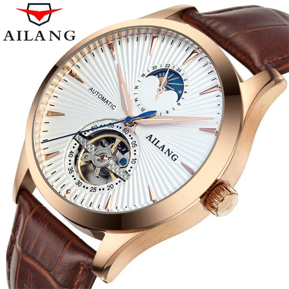 2017 AILANG Men Automatic Watch Genuine Leather Straps Moon Phase Second Hand Business Mechanical Mens Watches Top Brand Luxury 2018 ailang sapphire automatic mechanical watch mens top brand luxury waterproof brown genuine leather watch relogio masculine