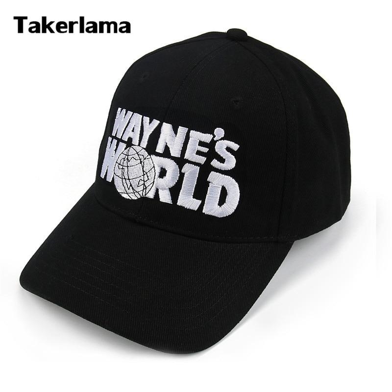 Takerlama Wayne's World Black Cap Hat Baseball Cap Fashion Style Cosplay Embroidered Trucker Hat Unisex Mesh Cap Adjustable Size hot winter beanie knit crochet ski hat plicate baggy oversized slouch unisex cap