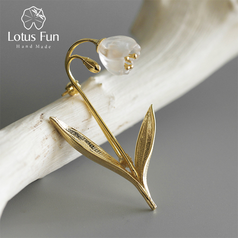 Lotus Fun Real 925 Sterling Silver Handmade Fine Jewelry Natural Crystal Lily of the Valley Flower Brooches for Women Brincos lotus fun real 925 sterling silver handmade fine jewelry natural crystal lily of the valley flower brooches for women brincos