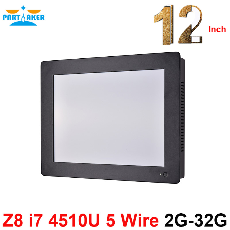 Partaker Z8 12.1 Inch Touch Screen All In One PC With Intel Core I7 4510U Duad Core 2G RAM 32G SSD Touch Panel Computer
