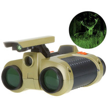New Arrival 4x30mm Night Vision Viewer Surveillance Spy Scope Binoculars Pop-up Light Tool