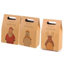 Paper Gift Bags Retro Elk Pattern Santa Claus Packing Gift Bags