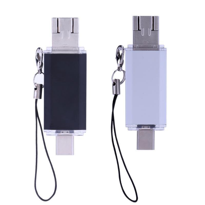 16GB Multifunctional Type-C+ Micro USB+ USB 2.0 3 in 1 Mini Portable USB Flash Drive Memory Stick Waterproof Extra Storage
