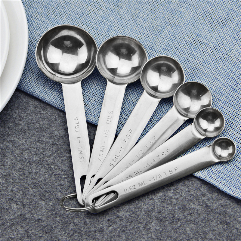 6 Pcs/set Stainless Steel Collapsible Folding Seasoning Measuring Cup And Spoon Set Folding Baking Cooking Tool Measuring Spoons