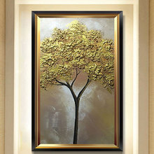 hand painted thick textured trees oil painting designed gold tree picture Relief artwork vertical golden canvas wall art