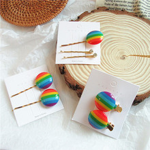 2-3 Pcs Korean Sweet Girl Simple Beautiful Rainbow Round Hairpin for Womens Hair Accessories Fashion Personality Headwear
