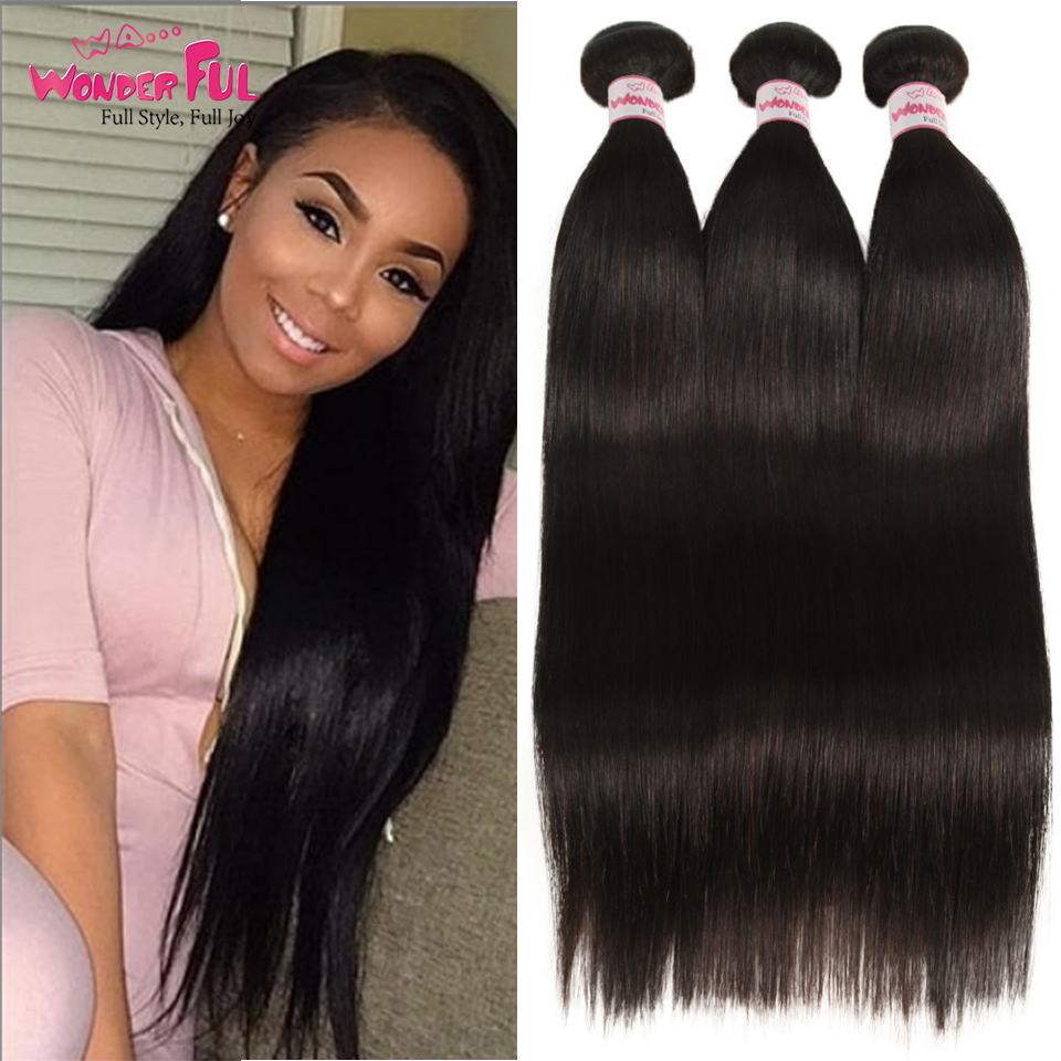 Wholesale Indian Hair Bundles  Straight Hair Extension 100% Human hair Bundles cheap weaves with Bundles  8 To 28 30 Inch(China)