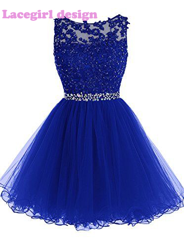 quality design a03df 496c3 Royal Blue Navy Blue Sky Blue Short Lace Rhinestone Beaded Bridesmaid  Dresses 2017 Longos Demoiselle D honneur Party Prom