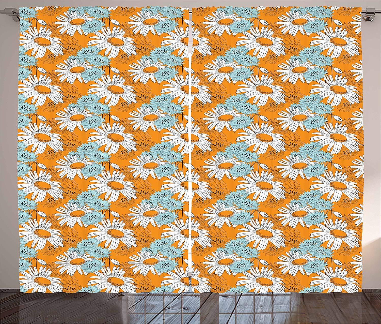 Orange Curtains Blooming Spring Daisies On Orange Backdrop Romantic Feminine Petals Living Room Bedroom Window Decor Panel