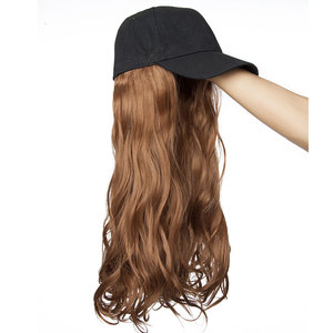 Image 2 - SNOILITE 16inch Wavy Hair Extensions with Black Cap Long Synthetic extension hair integrate cap with hair for girl party