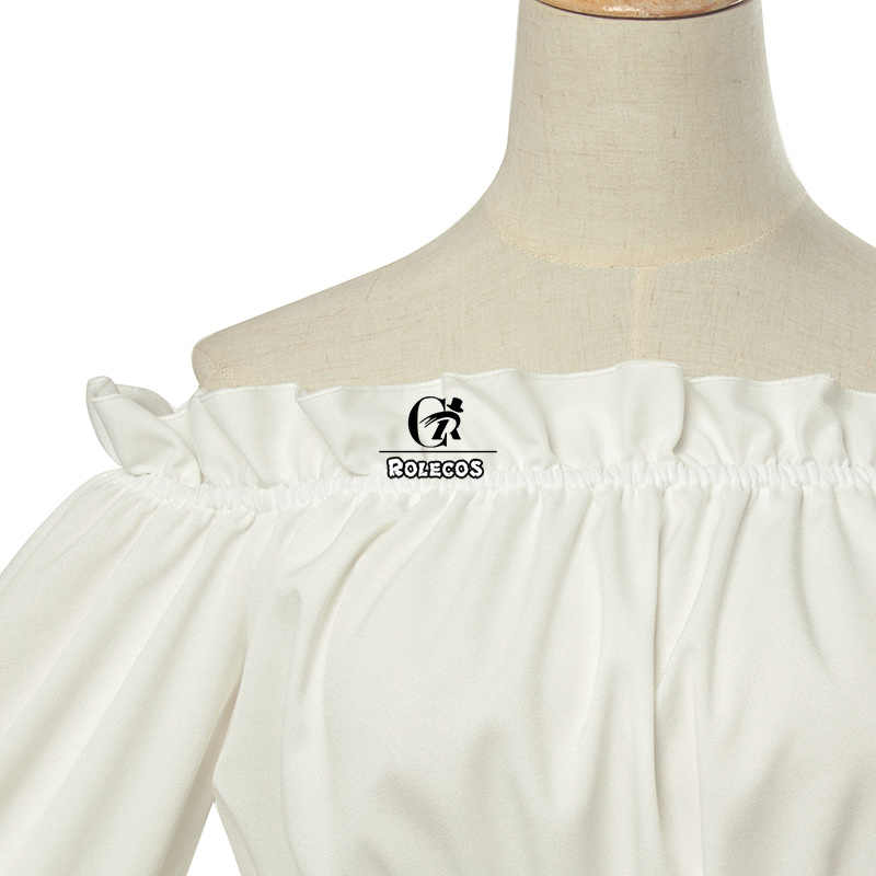 ROLECOS Fashion Lolita Blouses Long Flare Sleeve Shirt Corset Off Shoulder Sexy Gothic Women Vintage Lolita White Shirts Chiffon
