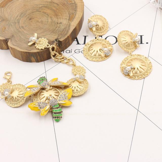 Europa y los Estados Unidos moda Barroco pulsera de cadena fina pequeña abeja Asia oro pulsera fresca pequeña 1305