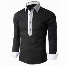 Men shirts 2017 fashion spring slim fit single-breasted turn down collar plaid hit color dress shirt men brand casual shirt C201