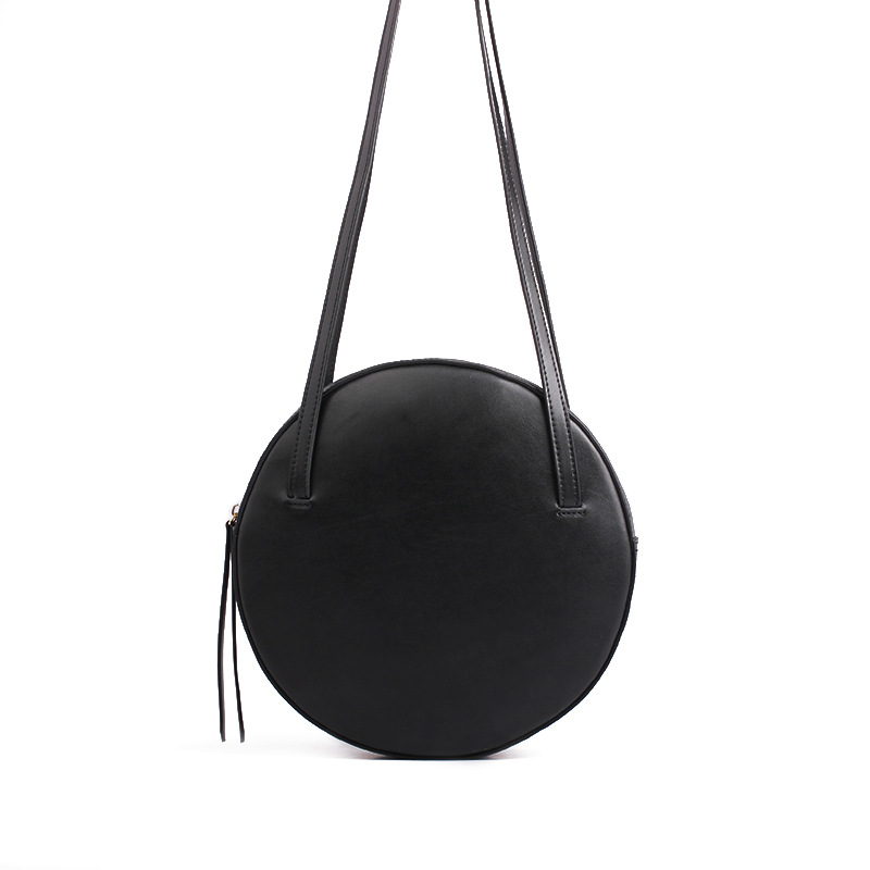 2018 new Round zipper woman shoulder bags simple vintage Circle women top-handle bags korean Pure color purses and handbags simple v neck cap sleeve pure color spliced blouse for women