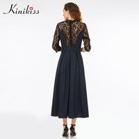 Kinikiss Maxi Summer Dress 2017 Solid Women Patchwork Lace Dark Blue Vintage Party Dress Spring Fashion