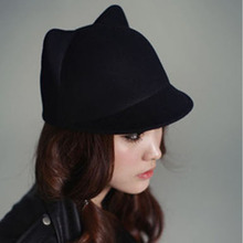 Fashion Women Vintage Warm Devil Hat Cute Kitty Cat Ears Winter Wool Derby Bowler Cap Free Shipping